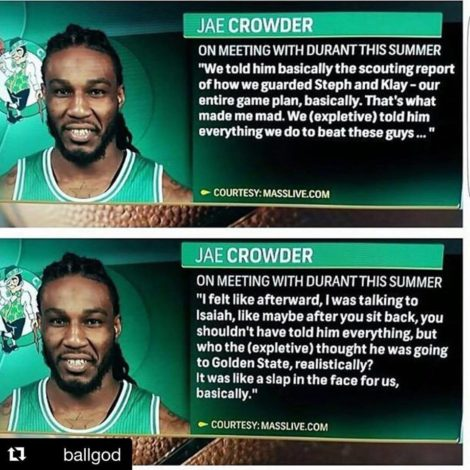 d7d665b8f18 Jae Crowder and the Celtics gave away their gameplan on stopping the  Warriors as a pitch to Kevin Durant